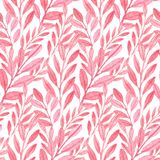 Seamless vector Pink pattern of leaves Stock Photo