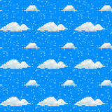 Seamless vector pixel cloud pattern Stock Images