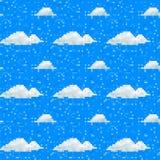 Seamless vector pixel cloud pattern stock illustration