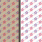 Seamless vector red and blue star background Stock Photography