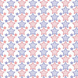 Seamless vector red and blue star pattern Royalty Free Stock Photo