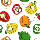 Seamless vector of red, yellow and green peppers. Hand drawing of bulgarian sweet peppers, paprika, peppercorns. Vector illustrati royalty free illustration