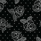 Seamless vector repeat black and white vintage rose print with a dot background. Great for textiles, apparel, cards, wrapping paper, fabric vector illustration