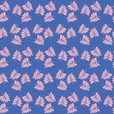 Seamless vector repeat pattern of pink tropical palm geometric design. Sweet surface pattern design. stock illustration