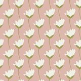Seamless vector repeat pretty ivory tulips in a row with sketched green stem design with a soft pink background. stock illustration