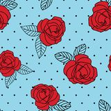 Seamless vector repeat red vintage rose print with a black dot and blue background. Great for textiles, apparel, cards, wrapping paper, fabric vector illustration