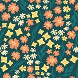 Seamless vector repeat scattered flowers pattern. Hand drawn florals background teal, yellow, orange. Scandinavian doodle flat vector illustration