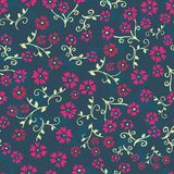 Seamless vector repeating floral pattern. Pink and green vintage style flowers on teal blue background. Use for fabric, wallpaper, vector illustration