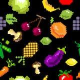 Seamless vector retro pixel game fruits pattern Royalty Free Stock Photos