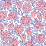 Seamless vector Roses pattern. Vector seamless wallpaper pattern of rose flowers Stock Photography