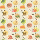 Seamless vector 1950's radio pattern Royalty Free Stock Image