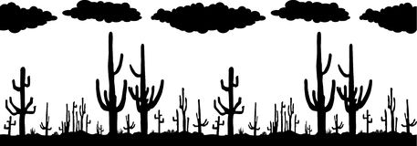 Seamless vector with Saguaro Cactus Royalty Free Stock Images