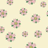 Seamless vector sakura on cream random pattern in tattoo style. For wrapping, craft, decor Stock Images