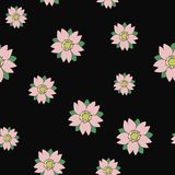 Seamless vector sakura random pattern in tattoo style. For wrapping, craft, decor Royalty Free Stock Images
