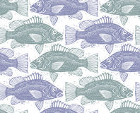 Seamless vector sea pattern, different fish silhouettes. Hand dr. Awn fauna wallpaper, aqua nature continuous background Stock Photos