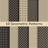 Seamless vector set of ten geometric pattern designs Stock Photography