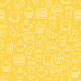 Seamless vector simple linear food pattern. Breakfast illustrati Stock Photo