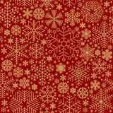 Seamless vector snowflake. Seamless golden vector snowflake on light red background pattern tile for gift wrapping paper and textile, winter christmas and new Stock Photos