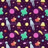 Seamless vector space pattern with cute and funny cartoon aliens and monsters. Stock Images
