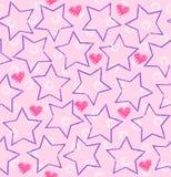 Seamless vector star, heart pattern Royalty Free Stock Photos