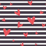 Seamless vector striped pattern with hearts. Stock Photo