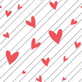 Seamless vector striped pattern with hearts Stock Image