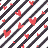 Seamless vector striped pattern with hearts Stock Images