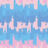 Seamless vector striped pattern with pink and blue castles royalty free illustration