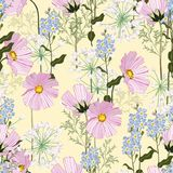 Seamless vector summer autumn pattern with flowers and herbs. Pattern for fashion,. Fabric and all prints on yellow background royalty free illustration