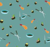 Seamless vector sushi pattern. Asian food stock illustration