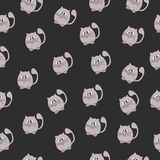 Seamless vector textiles with a picture gray cats on a black background. Pattern with animals Stock Photo
