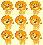 Seamless vector texture  cute lion Royalty Free Stock Photo
