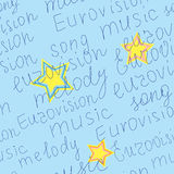 Seamless vector texture with words of eurovision Stock Photos