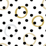 Seamless vector textured hand drawn polka dot pattern. Stock Photos