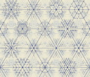 Seamless vector thin line geometric pattern of snowflakes. Stock Photography