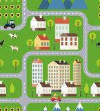 Seamless Vector Town Background Design Stock Photography