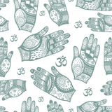 Seamless vector tribal pattern with hands. Stock Photos