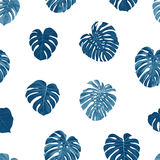 Seamless vector tropical botanical pattern with monstera palm leaves. Exotic hawaiian fabric design. Royalty Free Stock Image