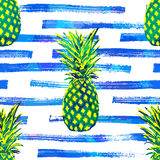 Seamless vector tropical pattern background with hand drawn pineapple Stock Images