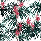 Seamless vector tropical pattern with dark palm leaves and tropical protea flowers on white background. Tropical background with jungle plants. Seamless vector vector illustration