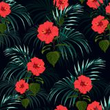 Seamless vector tropical pattern with dark palm leaves and tropical red hibiscus flowers on black background. Tropical background with jungle plants. Seamless Vector Illustration