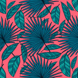 Seamless vector tropical pattern. Tropical color leaves, jungle leaves. Stock Image