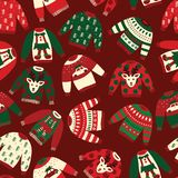Seamless Vector Ugly Christmas sweaters pattern stock illustration