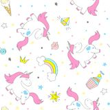 Seamless vector unicorn pattern for kids textile, prints, wallpapper, sccrapbooking. Doodle cute unicorn with doodle elements repeating background vector illustration
