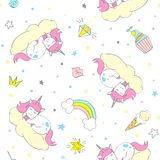 Seamless vector unicorn pattern for kids textile, prints, wallpapper, sccrapbooking. Doodle cute unicorn with doodle elements repeating background stock illustration