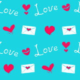 Seamless vector valentine's day pattern. On blue backgroundwith letters, hearts anad word love Royalty Free Stock Image