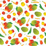 Seamless vector vegetables pattern illustration. Seamless pattern illustration background for your kitchen with small vegetables compositions: pepper, tomato vector illustration