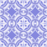 Seamless vector vintage background pattern in shades of blue, lilac, purple. The main element of mosaic is abstract flower in circles Royalty Free Stock Photo