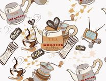 Seamless vector wallpaper on coffee theme Royalty Free Stock Photography