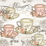 14)Seamless vector wallpaper design in vintage style. Vector seamless wallpaper with hand drawn cups of tea and roses in vintage style Royalty Free Stock Image